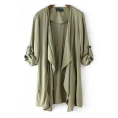 SheIn(sheinside) Army Green Long Sleeve Asymmetrical Trench Coat ($28) ❤ liked on Polyvore featuring outerwear, coats, jackets, tops, green, shawl collar coat, olive green trench coat, long sleeve asymmetric coat, green coat and long sleeve coat