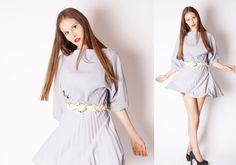 Short Gray 80s Vintage Pleated Dress / Short Dress / by aiseirigh, $52.00
