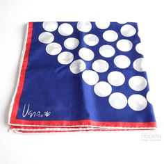 Vera Neumann White Dot Fireworks on Blue Scarf
