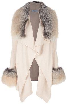 Blumarine Fauxfur Trim Coat