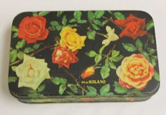 "Vintage Spanish Vda de Solano ""Widow of Solano"" Rose Tin Candy Box Logrono Spain"
