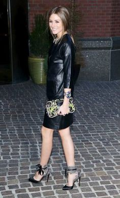 Olivia Palermo Party Look : Leather | #inspiredby