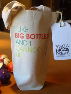 I Like Big Bottles And I Cannot Lie - Custom 100% Recycled Cotton Canvas Wine Tote Bag. #etsy