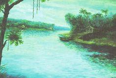 Igarapé (2000),óleo sobre tela de Jeriel.Dimensões:100 x 145cm. Acervo da Procuradoria geral do Estado do Amapá.