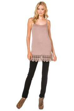 Buttery soft cami with adjustable straps and sweet crochet hem. Wear it as a top extender or by itself.