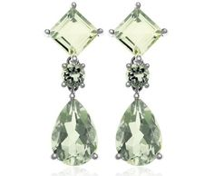 White Gold Pear and Square Shaped Green Amethyst Dangle Earrings Amethyst Earrings, Dangle Earrings, Green Earrings, Jewelry Box, Fine Jewelry, Jewellery, Chanel Jewelry, Jewelry Making, Green Fashion