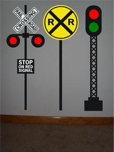ON SALE 3 Railroad crossing signal vinyl signs.one yellow circle crossing sign, one RR stop crossing sign, one Red and green crossing sign Polar Express Party, Polar Express Train, Thomas The Train Birthday Party, Trains Birthday Party, 3rd Birthday, Zug Party, Cardboard Train, Train Bedroom, Vinyl Signs