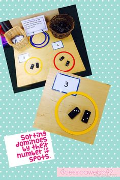 Developing counting and number pattern recognition by sorting dominoes by the nu… – Top Of The World Subitizing Activities, Maths Eyfs, Eyfs Activities, Preschool Math, Kindergarten Math, Eyfs Classroom, School Classroom, Early Years Maths, Early Math