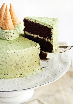 Mint Chocolate Chip Cake - http://www.raspberricupcakes.com/2011/09/mint-chocolate-chip-cake.html