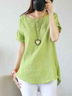 Cheap shirt producers, Buy Quality shirt sleeve bands directly from China sleeve length shirt Suppliers: Plus size Women blouses 2016 summer linen shirt women tops short sleeve blouse femme o-neck button blusas mujer Short Sleeve Blouse, Batwing Sleeve, Long Sleeve, Plus Size Women, Shirt Blouses, Blouses 2017, Blouses For Women, Casual Outfits, Cotton Linen
