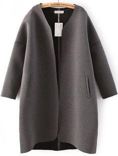 Grey Long Sleeve Pockets Loose Coat - abaday.com
