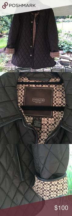 Brown Coach Quilted Jacket A brown quilted jacket by Coach. Interior is beige with the signature Coach C's. Snaps down the front with two side pockets. The shell is 100% nylon and the lining is 100% polyester. Can also wear the jacket reversed so the C's are on the outside. A perfect, classic jacket! Coach Jackets & Coats Puffers