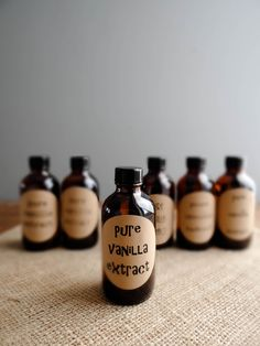 Homemade pure vanilla extract.  Christmas?  Housewarming?  Love the bottles and labels too.