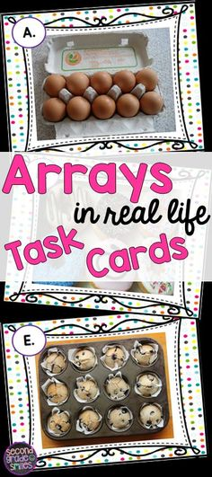 Looking for fun, new resources for teaching arrays in grade? This set of 20 task cards provides photographed examples of real life uses for arrays. Great for small group math centers, whole class scoot games, or math tubs! Maths 3e, Math Multiplication, Math Stations, Math Centers, Real Life Math, Math Card Games, Math Tubs, Second Grade Math, Grade 3