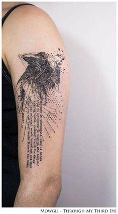 Graphic style raven tattoo on the left upper arm named 'Ozymandias' on Paula.