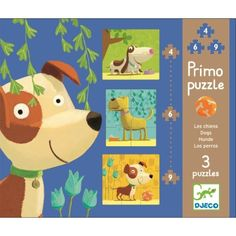 Ideal for early learning Three distinguished dogs feature in this first puzzle for little ones. There is a 4 piece, 6 piece and 9 piece puzzle This puzzle makes a great present for toddlers.