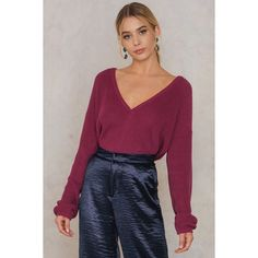 Josefin Ekstrom for NA-KD Deep V-neck Sweater (€40) ❤ liked on Polyvore featuring tops, sweaters, raspberry velvet, chunky-knit sweaters, oversized sweaters, oversized chunky knit sweater, over sized sweaters and purple velvet top