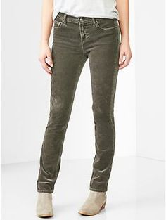 1969 mid-rise real straight cords | Gap $42 -- Olive corduroy pants perfect for adding color to a casual ensemble.