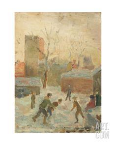 Playing Hockey in the Yard, 1940s Giclee Print