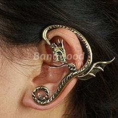 Punk Style Vintage Allotype Dragon Pattern Ear Cuff Stud Earring Free Shipping!  - US$1.59