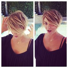 kaley cuoco shows ofpixie haircut - kaley cuoco new haricut - beauty bag - handbag