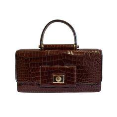 Hermes - 1940's HERMES crocodile top handle bag with geometric hardware
