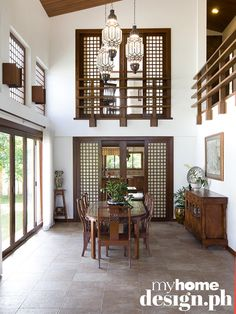 Filipino Home Styling. A luxury Filipino Home. Great use of Capiz.