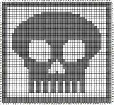 Crafty Lady Abby: Skull A Day wash cloth pattern - Tutorial - Filet Crochet Skull Beaded Cross Stitch, Crochet Cross, Crochet Chart, Love Crochet, Crochet Motif, Crochet Skull Patterns, Crochet Stitches Patterns, Crochet Designs, Fillet Crochet
