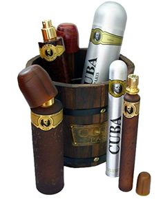 Cuba Gold Bucket 5 Pc Gift Set includes a full-size cologne and aftershave, a large body spray, and a travel-size cologne.