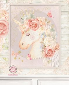 Miss Lolly Unicorn Nursery Wall Art Print Boho Bohemian Baby Blush Room Kids Bedroom Home Limited Edition Decor Unicorn Fantasy Baby Girl Nursery Room Playroom Whimsical Magical Blush Sleeping Face Wings Shabby Chic Pearl Necklace Butterfly Gold Lace Crown Wall Art Print Limited Edition Pink Forest Cafe - PinkForestCafe.com - Ethereal, Vintage, Antique Style. Custom Print.
