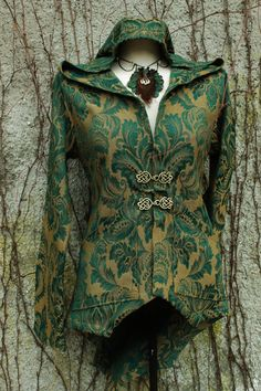 rococco damask jacket in size Medium or made to order .  ochre yellow and dark green art deco rococo  with a big hoodie and damask pattern