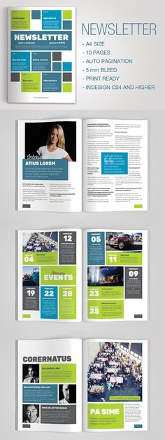 4-Pages Newsletter Template | Newsletter templates, Print ...