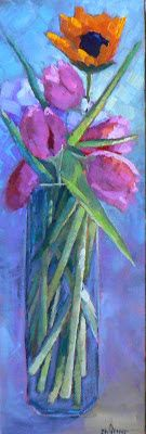 """Floral Still Life, Flower Painting, Daily Painting, Small Oil Painting """"TALL STEMS"""" by Carol Schiff, 6x18"""" Oil"""
