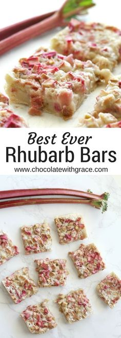 Rhubarb bars with a shortbread crust and tangy rhubarb custard filling are a fun, easy spring dessert. Used cups sugar - good. 13 Desserts, Spring Desserts, Delicious Desserts, Dessert Recipes, Rhubarb Desserts Easy, Spring Recipes, Rhubarb Cookies, Rhubarb Muffins, Recipes Dinner