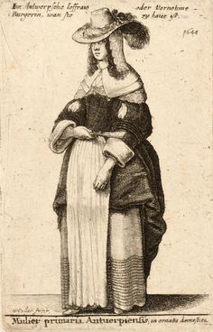Hollar Collection - University of Toronto Libraries. (She is wearing a lace-edged linen hood under her wide brimmed hat. I am pinning a portrait with a similar hood nearby...NB)