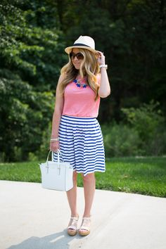 summer outfit: striped skirt and espadrilles
