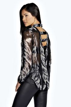 Kerry Sheer Blurred Print Caged Back Shirt alternative image Evening Tops, Perfect Party, Online Shopping Clothes, Latest Fashion Trends, Boohoo, Dressing, Clothes For Women, Shirts, Entrance