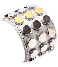 Leather Style Studs Bracelet Wrap Cuff Silver Armor Rivets Chunky Statement Unisex