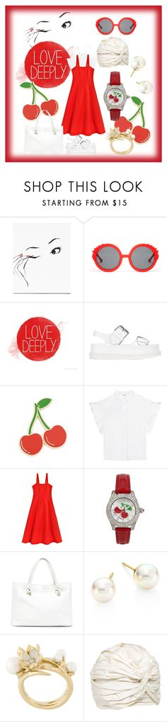 """""""Cherry and white love"""" by dudettelucy ❤ liked on Polyvore featuring Preen, STELLA McCARTNEY, Georgia Perry, Iris & Ink, Maryam Nassir Zadeh, Betsey Johnson, Sole Society, Majorica, Shaun Leane and Alex"""