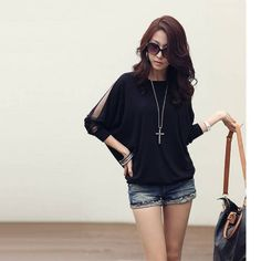 7.28$  Know more - http://ai76i.worlditems.win/all/product.php?id=G0129B-S - Women's Blouse T-shirt Cotton Batwing Lace Sleeve