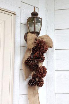 Burlap Bow & Pine Cones - Simply Rustic