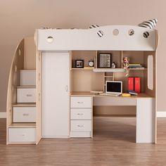 Cette base de lit loft format jumeau comprend des marches avec des tiroirs pour garder tous les vêtements et jouets rangés. L'espace de la penderie peut contenir encore plus de vêtements et le bureau et la hûche offre beaucoup de rangement pour les livres, articles d'école et bien plus!