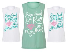 Bridal Party Shirt Sets for the Beach-y Bachelorette Party | www.ZCreateDesign.com or ZCreateDesign shop on Etsy & available on Amazon Handmade!