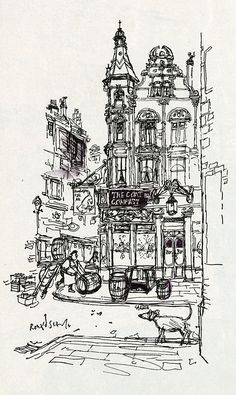 "Irish Pub by Ronald Searle, Illustration for ""In Quest of Beer"" F. O'Connor, Holiday Magazine 1957"