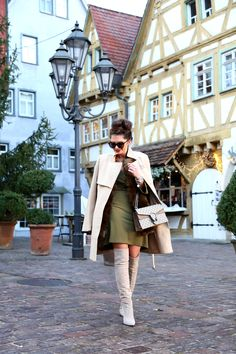 beige and khaki - FashionHippieLoves. Khaki long sleeved dress+ivory over the knee boots+brown fur vest+ivory coat+camel and grey Gucci Dionysus chain shoulder bag+sunglasses. Winter Casual Event Outfit 2017