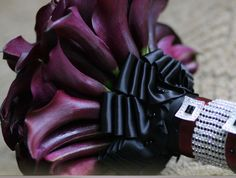 Lela Bouquet - Lush bouquet of eggplant calla lilies with platinum ribbon wrap and bling accents