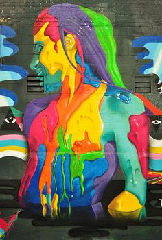 A selection of street art creations of the artist Dasic Fernandez, a Chilean from Santiago now based in New York, who creates some huge colorful murals with gr 3d Art, Chalk Art, Public Art, Wall Art, Painting, Illustration Art, Art, Graffiti Art, Street Art