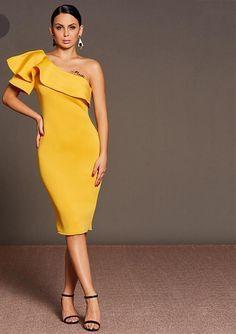 Jennie Asymmetric One Shoulder Dress – Brilliant Hippie Simple Dresses, Elegant Dresses, Casual Dresses, Fashion Dresses, One Shoulder Dress Long, Mode Chic, Collar Styles, Chic Dress, Ladies Dress Design
