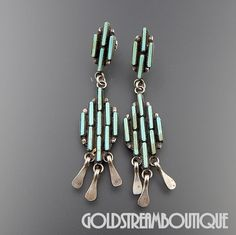 VINTAGE ZUNI STERLING SILVER TURQUOISE PETIT POINT CLUSTER DANGLE POST EARRINGS #Cluster