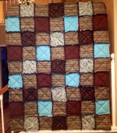 Mocha Brown and Teal Blue Large 65 x 50 quilted throw by BYOBgoods, $149.00